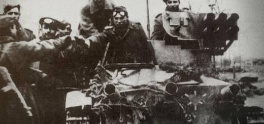 Бойцы Красной армии на трофейной немецкой танкетке «Боргвард» с установкой из шести 88-мм «панцершреков». Берлин, май 1945 года