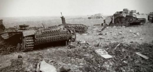 Уничтоженные советской артиллерией немецкие танки-роботы B-IV и танки управления Pz.Kpfw. III (один из танков имеет номер F23). Cеверный фас Курской дуги у деревни Глазуновка