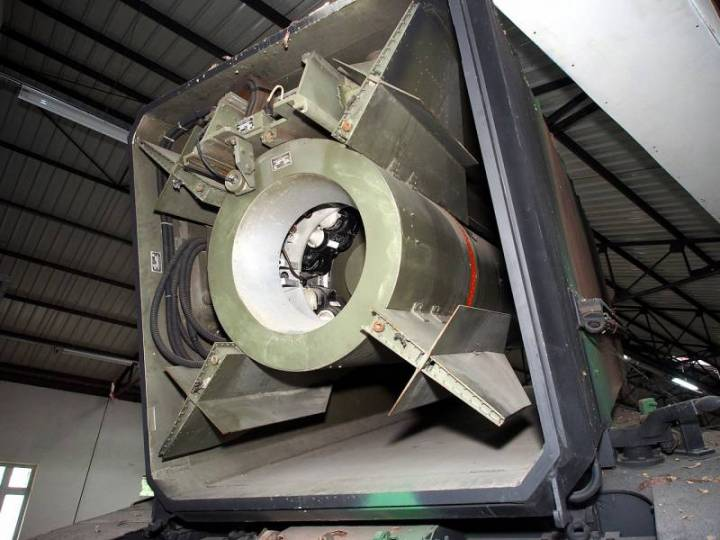 Хвостовая часть ракеты, видны сопло и стабилизаторы с рулями
