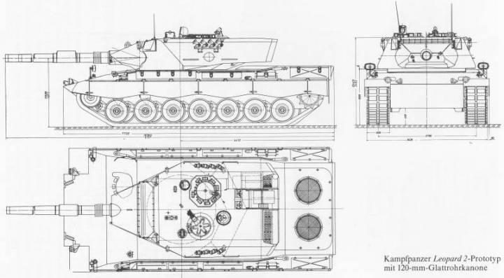 Прототип танка Leopard 2 с установленной 120-мм гладкоствольной пушкой